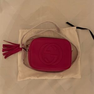 Gucci Soho Disco Hot Pink Leather Cross Body Bag